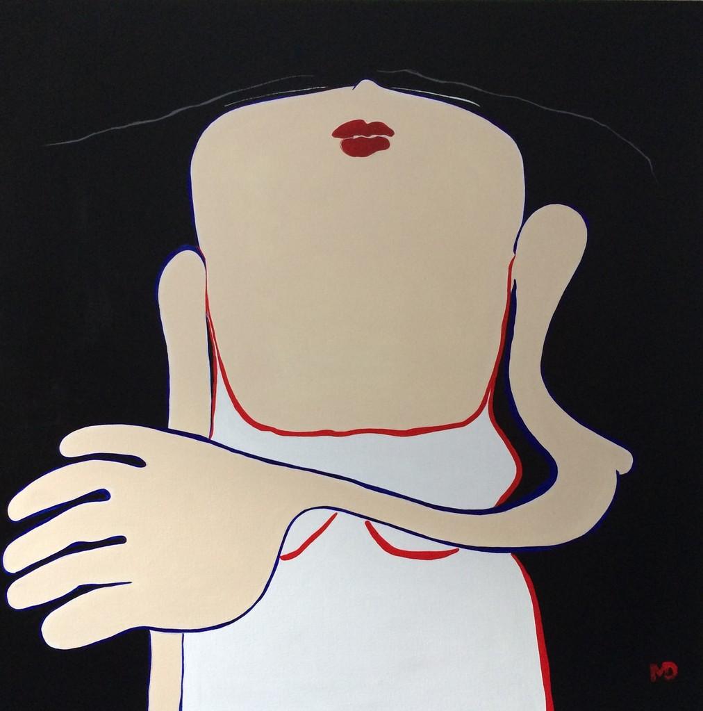 Jeune fille en rouge - Acryl - 120x120