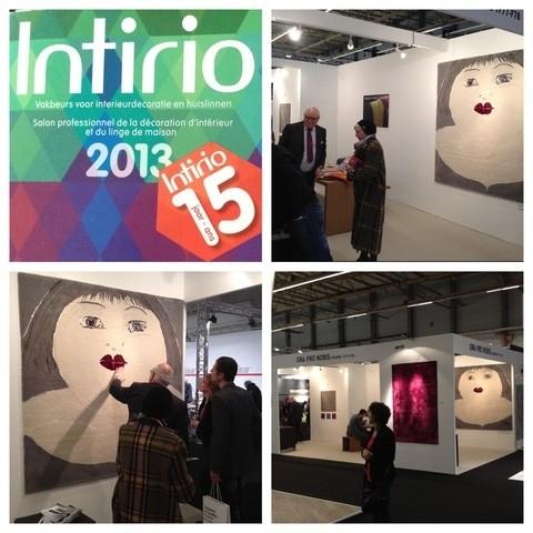 Het wandtapijt Ditto van Mieke Drossaert wordt tentoongesteld in de Interieurbeurs Intirio beurs in Gent