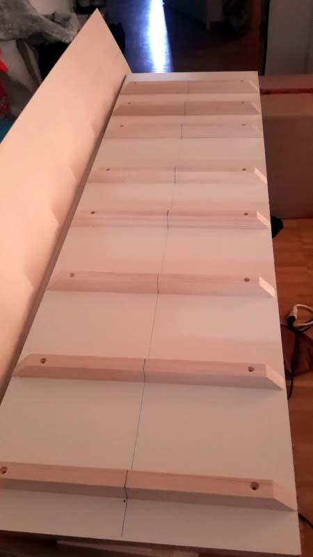 Préparation du plan de travail, Chaque tasseaux de bois va recevoir son couple