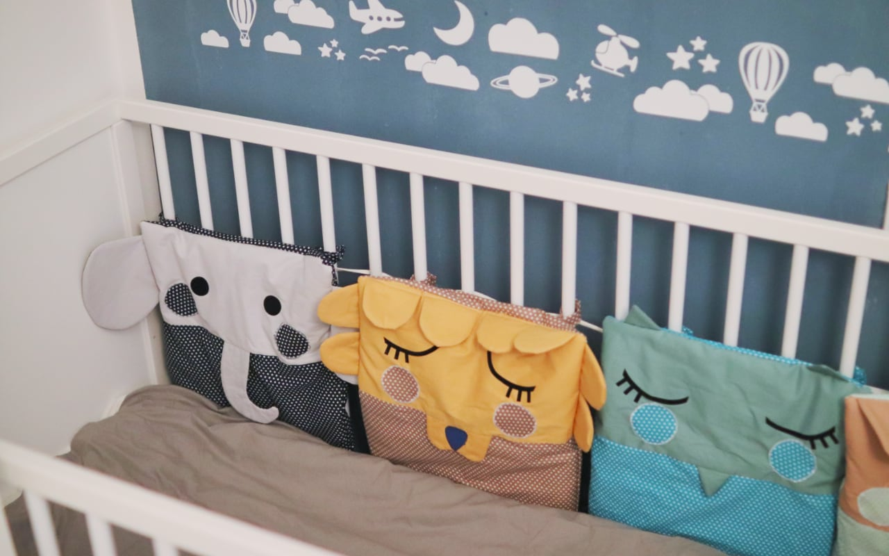 Baby Bettumrandung nähen mit Tieren