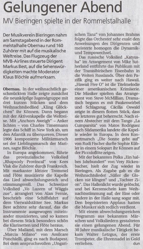 Schwäbisches Tagblatt vom 17.12.2012