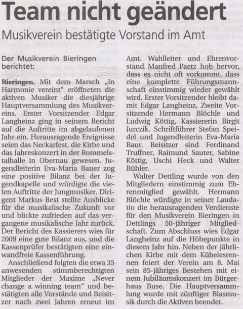 Schwäbisches Tagblatt vom 10.03.2010