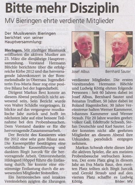 Schwäbisches Tagblatt vom 26.03.2013