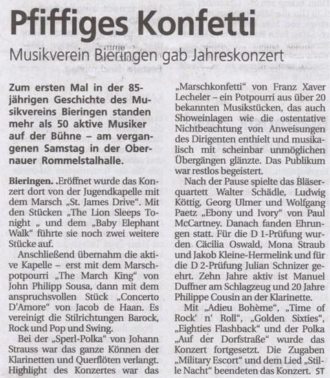Schwäbisches Tagblatt vom 23.12.2010