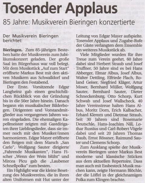 Schwäbisches Tagblatt vom 14.05.2010