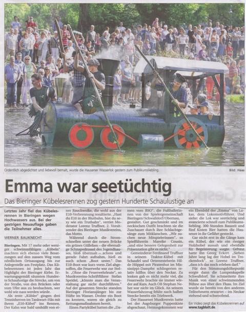 Schwäbisches Tagblatt vom 26.09.2011