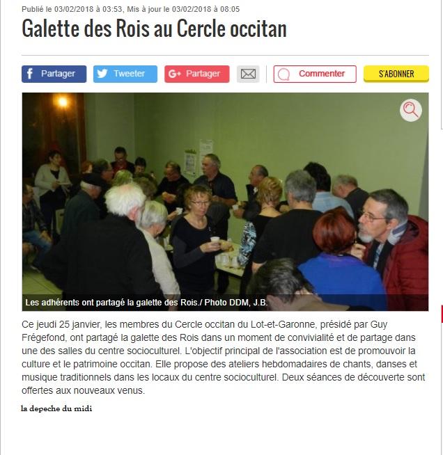 GALETTE LE 25 JANVIER 2018