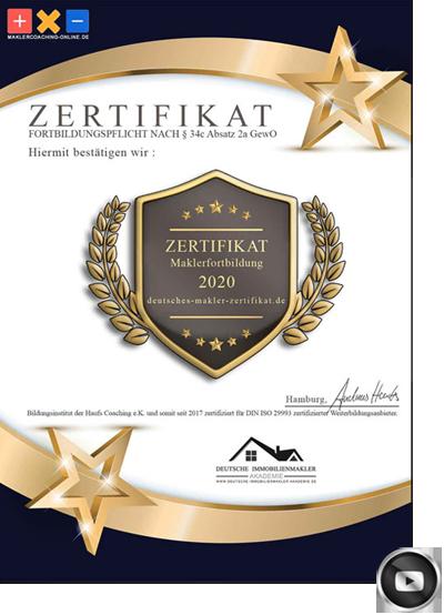 HERFORD IMMOBILIENMAKLER MAKLER AWARD ZERTIFIKAT MAKLERAWARD MAKLERZERTIFIKAT
