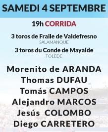 Toros de Valdefresno et Conde de Mayalde pour Morenito de Aranda, Thomas Dufau, Tomas Campos, Alejandro Marcos, Jesus Colombo et Diego Carretero
