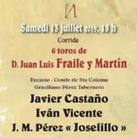 Toros de Fraile pour Javier Castaño, Ivan Vicente et Joselillo