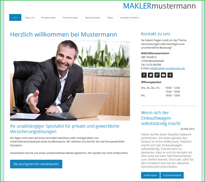 Screenshot makler-mustermann.jimdo.com