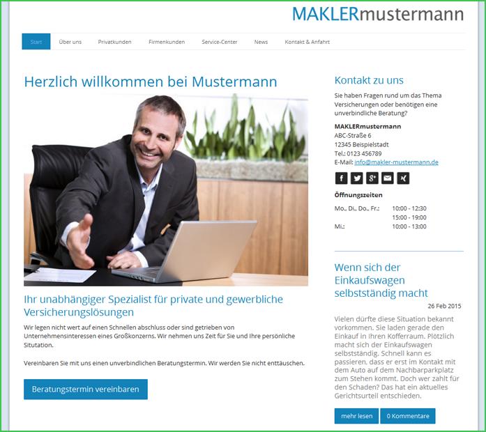 Screenshot makler-mustermann.jimdo.com
