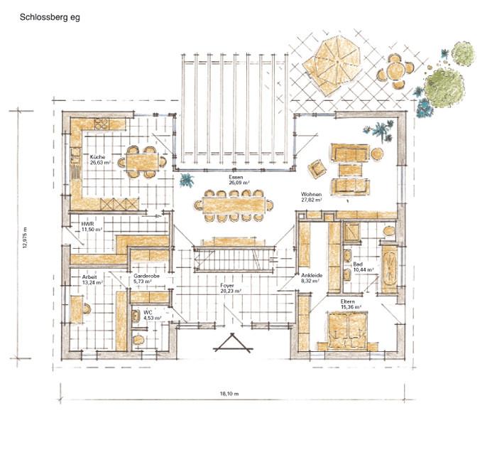 Zentrum und Seele des Hauses ist der große Essplatz im Erdgeschoss. Der luxuriöse 70-Quadratmeter-Großraum über die gesamte Hausbreite, auf der einen Seite mit topmoderner Küche, auf der anderen Seite mit Sitzgruppe vor dem Kamin