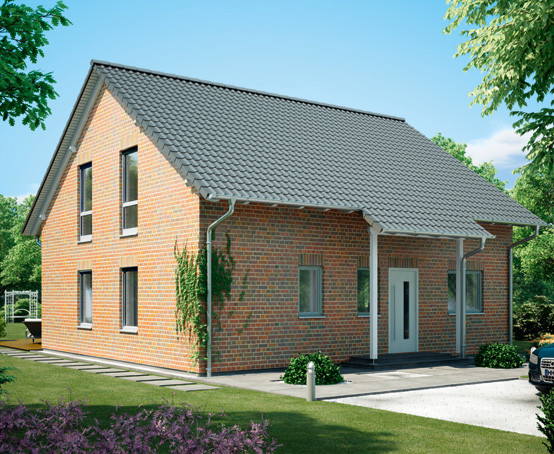 """Die lichtgrau lackierten Vollholz-Fensterrahmen strukturieren die rotbunte Klinkerfassade der """"Buchenallee"""" und harmonieren ausgezeichnet mit der anthrazit-farbenen Dacheindeckung. Unter der verlängerten Dachfläche schmiegt sich auf der Gartenseite ein."""