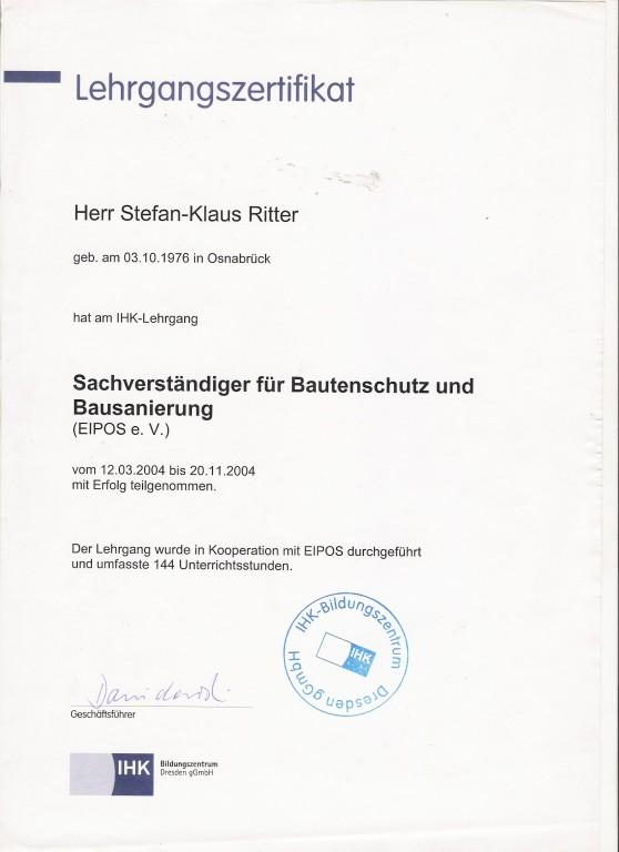 IHK - Lehrgangsbescheinigung - Sachverständiger  für Bautenschutz u. Bausanierung