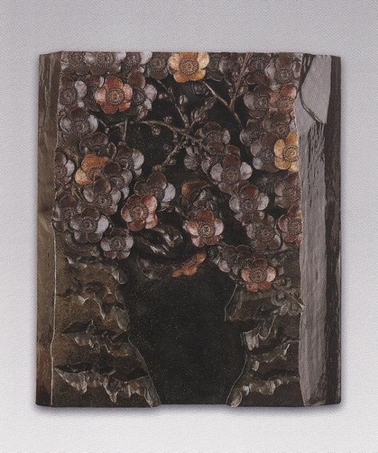 彫木透かし彫・梅文額(谷戸の梅)