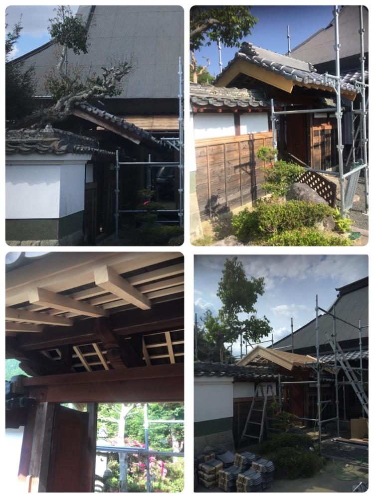 門の屋根のみの改修工事