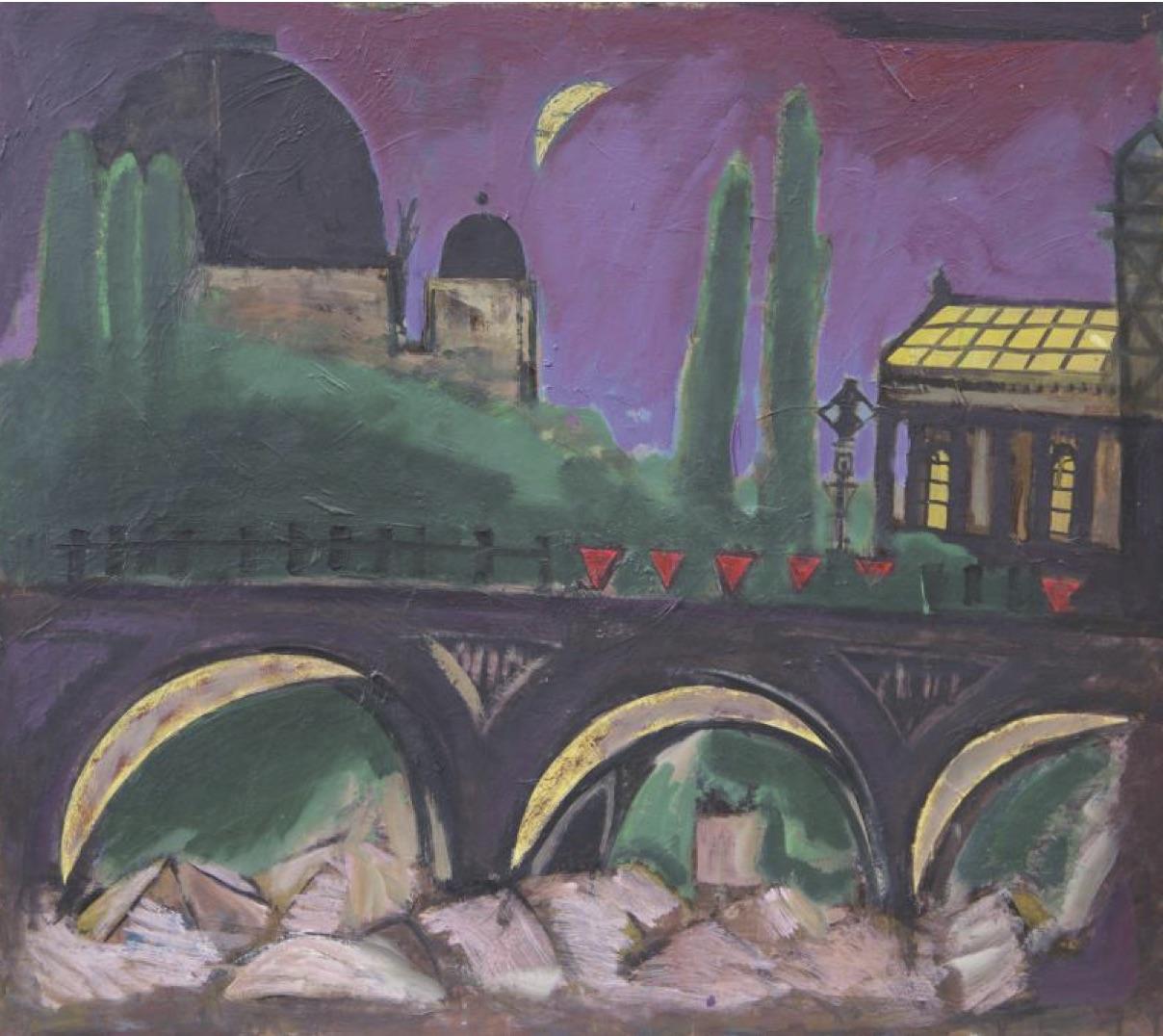 """Tipp 14: So, 20.10., 16 Uhr: Maria Hartwig führt durch die Ausstellung """"Karl Hartwig – Malerei"""", Krankenhauskirche im Wuhlgarten. © Karl Hartwig, o. T. (Berlin) 70 x 80, Öl auf Hartfaser, 1984"""