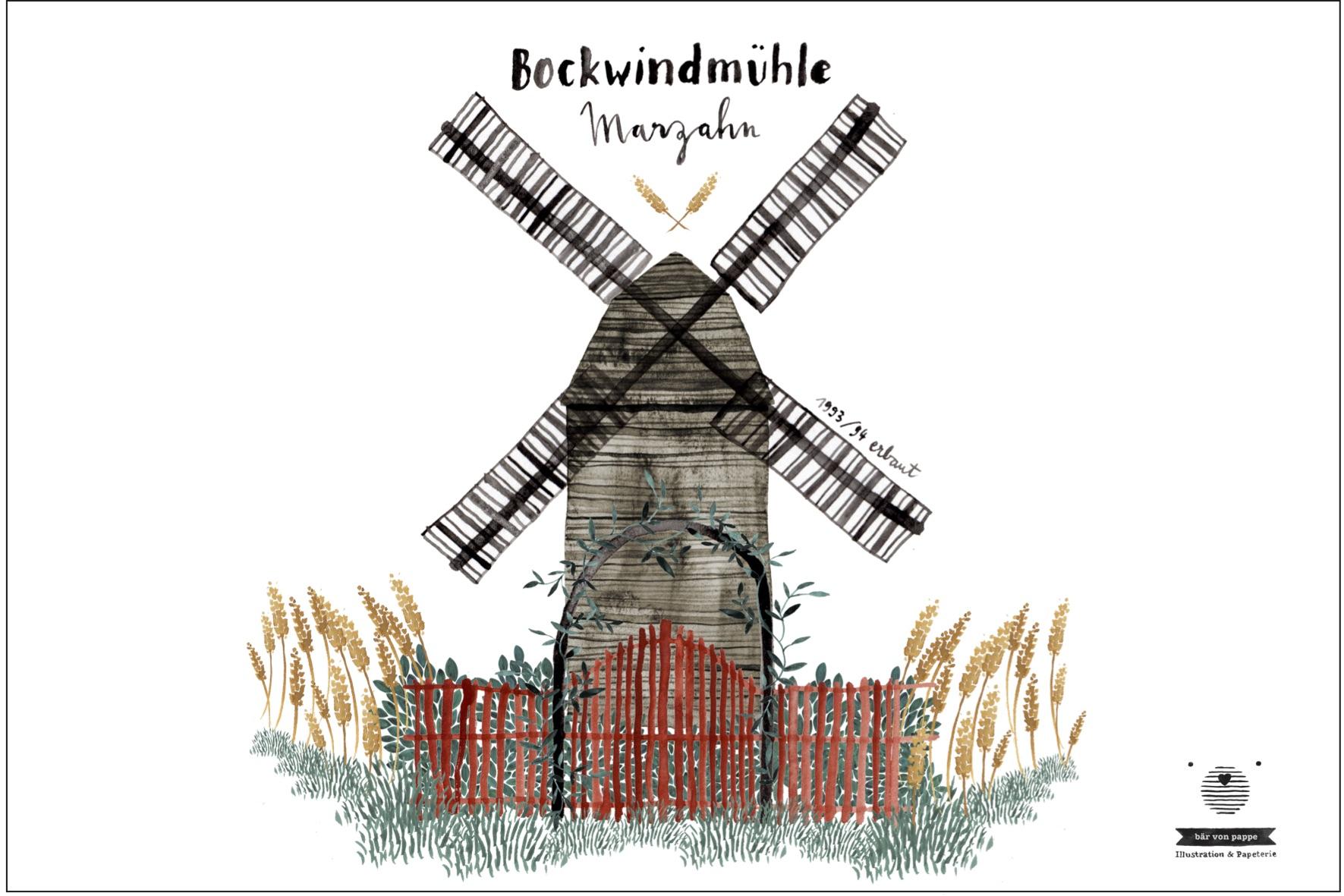 Die Bockwindmühle Marzahn, illustriert von Jenny Boidol (bär von pappe)