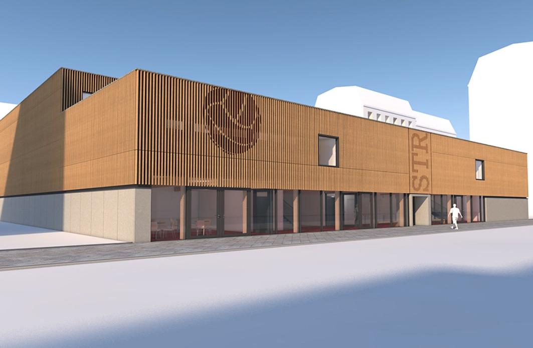So sieht der Entwurf für die kompakte Berliner Schnellbausporthalle mit Galerie und 60 Zuschauerplätzen aus. © Baumgart Becker Planungsgesellschaft mbH