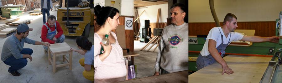 bosnanova-Gründerin Nela mit Tischlern in Bosnien und Herzegowina