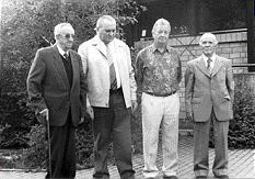 Ehemalige Vorstandsmitglieder von links: Ehrenmitglied Johann Schädler, Erich Kehlert, Herbert Klöckler, Hugo Lorenzi