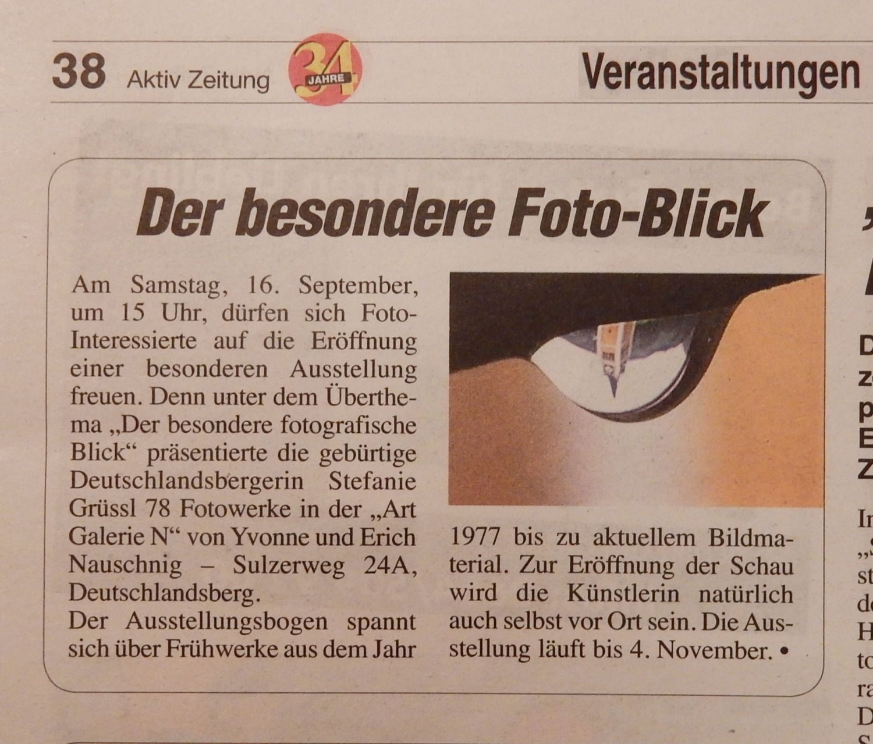 Ausstellung - Ankündigung in der Aktiv-Zeitung
