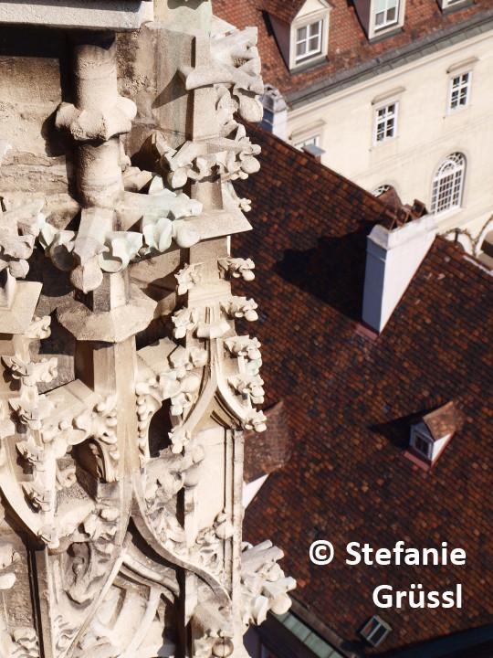 26 Gotische Elemente (Krabben) mit Blick auf die Altstadt