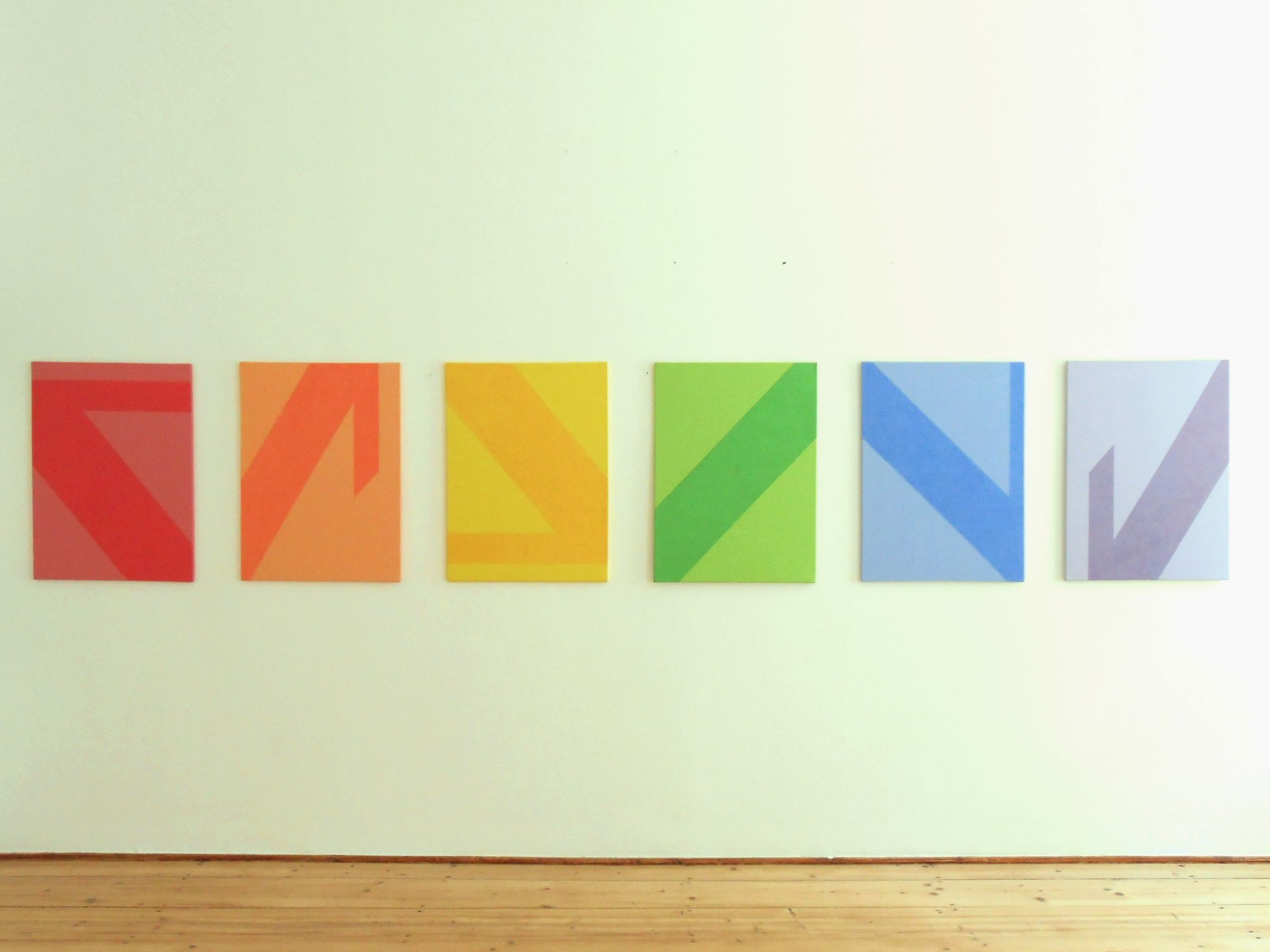 """Susanne Wechtitsch: """"TAR"""", 2011, Acrylmalerei und Sand auf Leinwand, 6-teilig"""