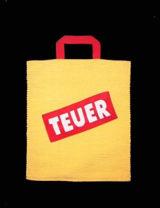 """Stofftasche """"Teuer"""" - künstlerisches Einzelstück"""