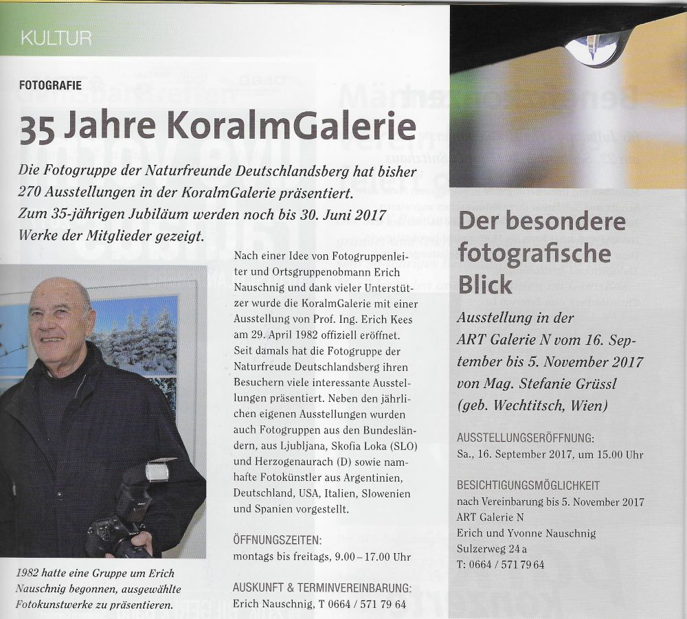 Ausstellung - Ankündigung Stadtzeitung Deutschlandsberg
