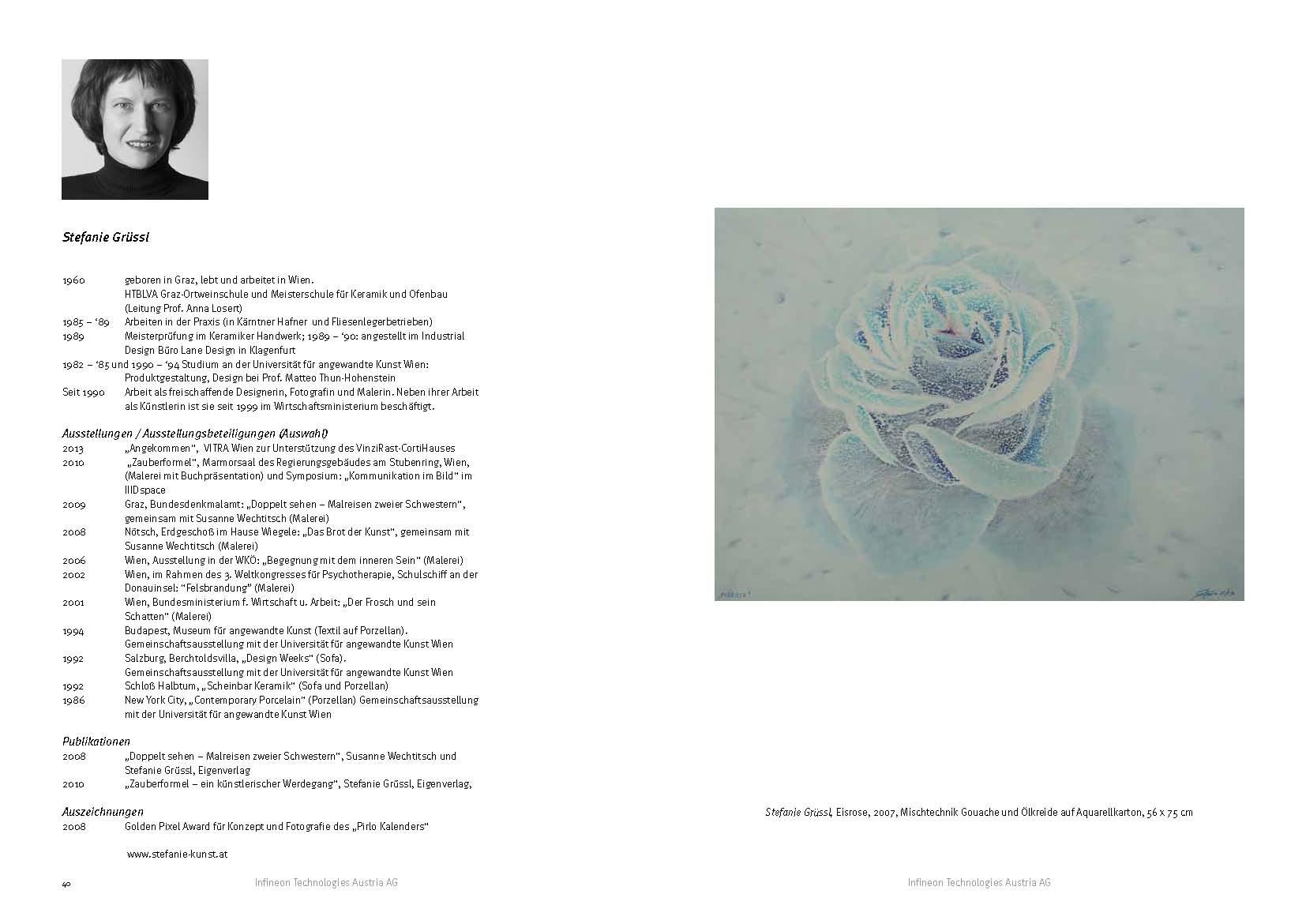 Beitrag im Katalog der Kunstsammlung von Infineon, S. 40 / 41