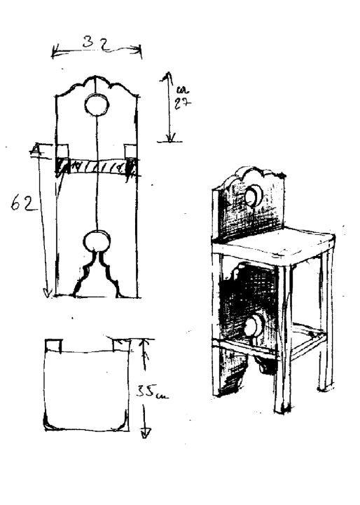 Skizze / Konstruktion für Arbeitssessel aus Holz, 1986
