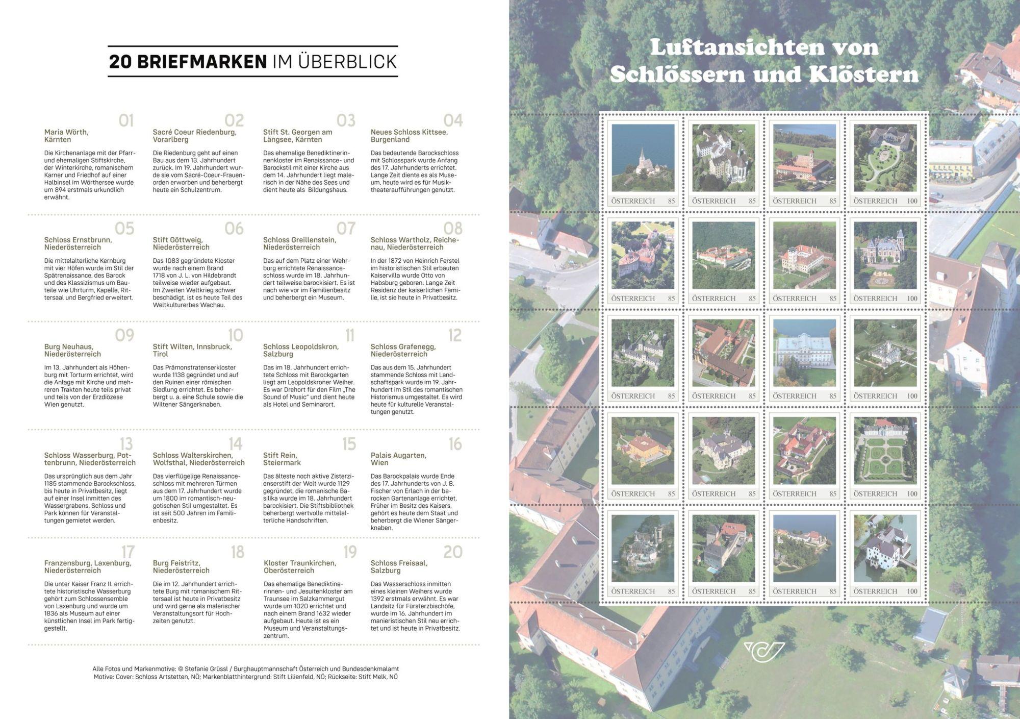 Sammelalbum Innenseite mit Beschreibungen der Luftbilder