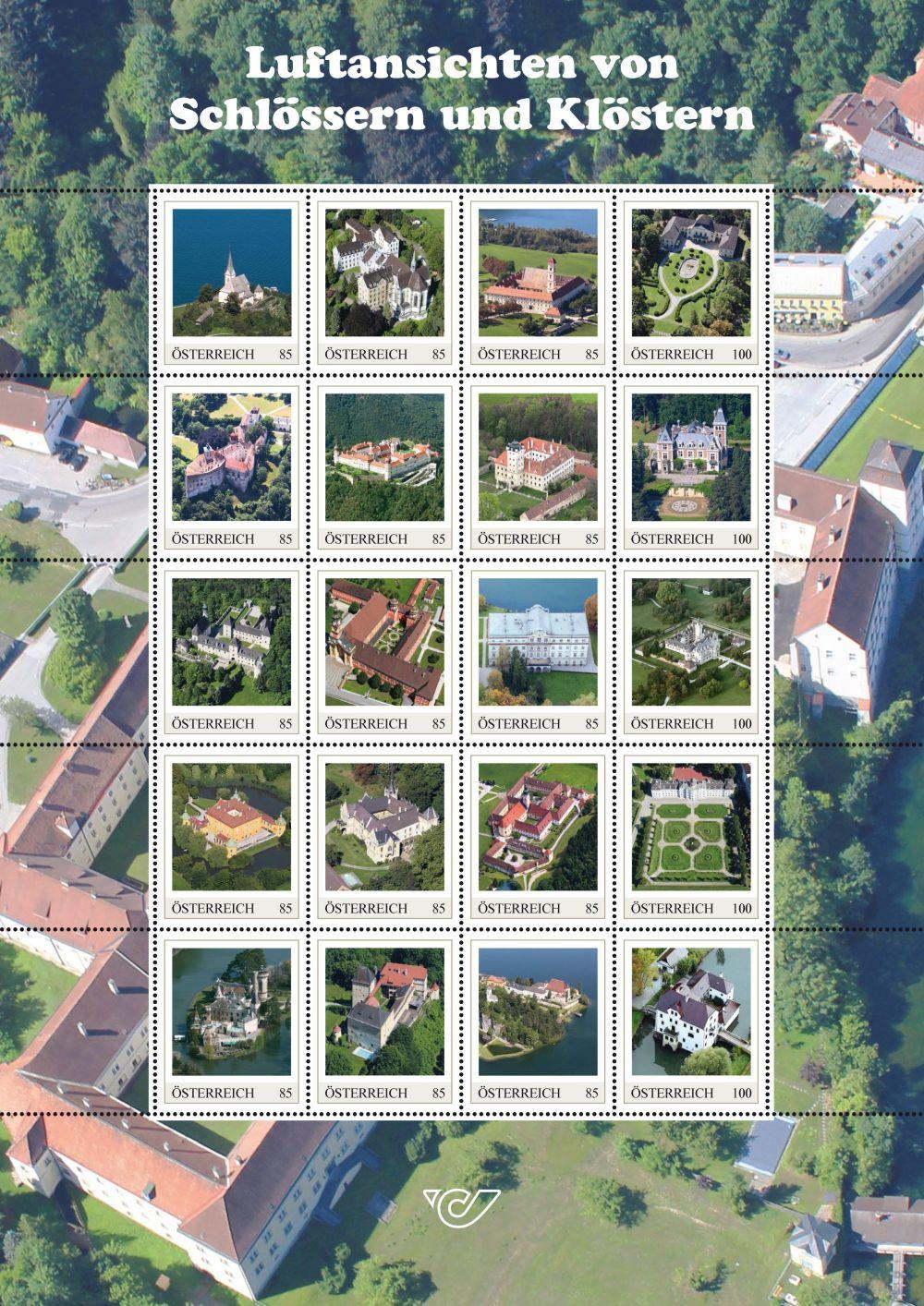 20 Briefmarken mit Motiven aus neun Bundesländern, alle Fotos von Stefanie Grüssl