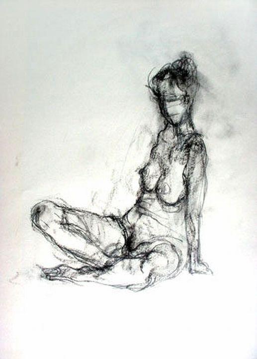 Susanne Wechtitsch: Akt, Kohle auf Papier