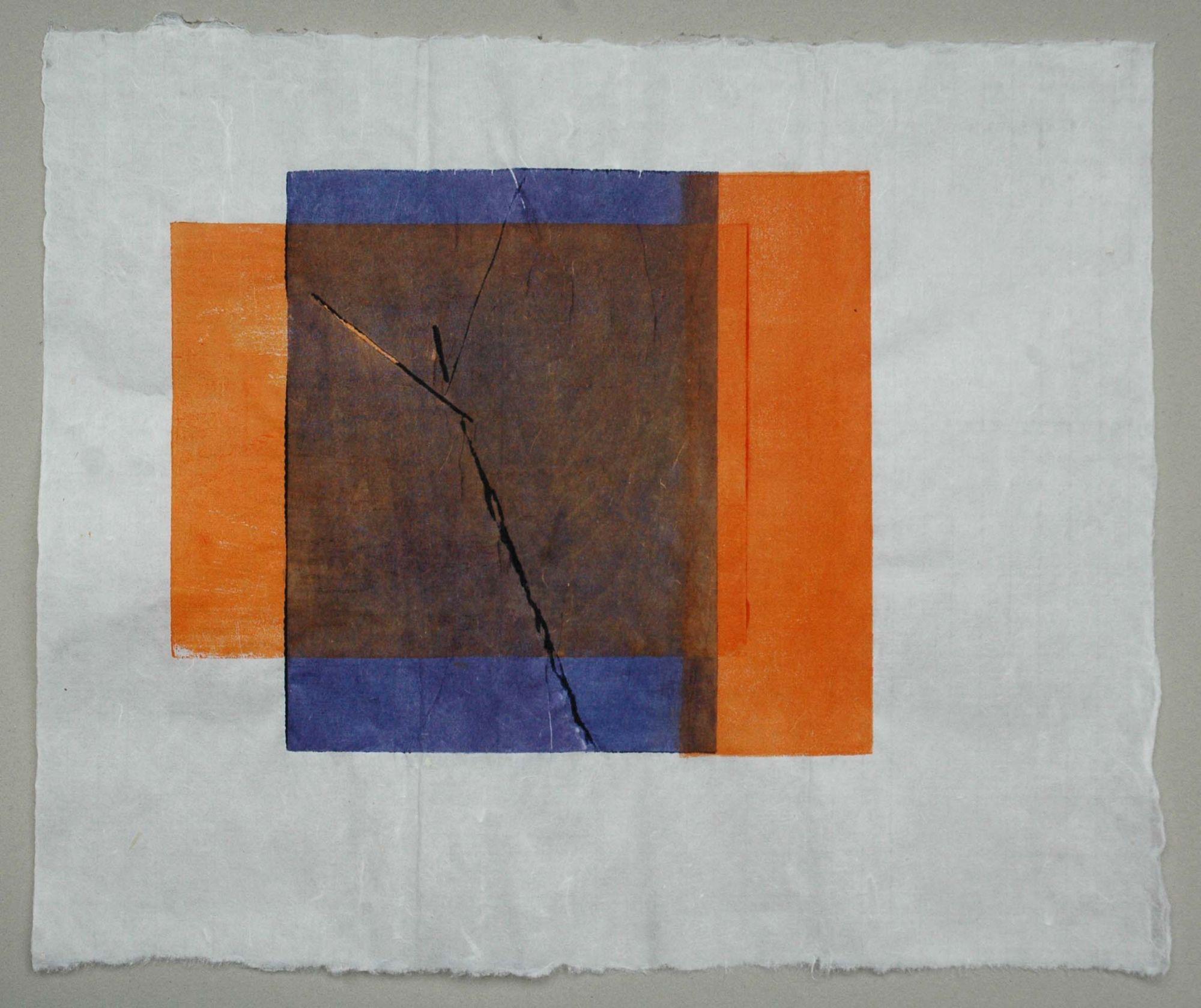 """Susanne Wechtitsch: """"Halbenrain / Orange-Blau"""", Asiatischer Holzdruck auf Japanpapier"""