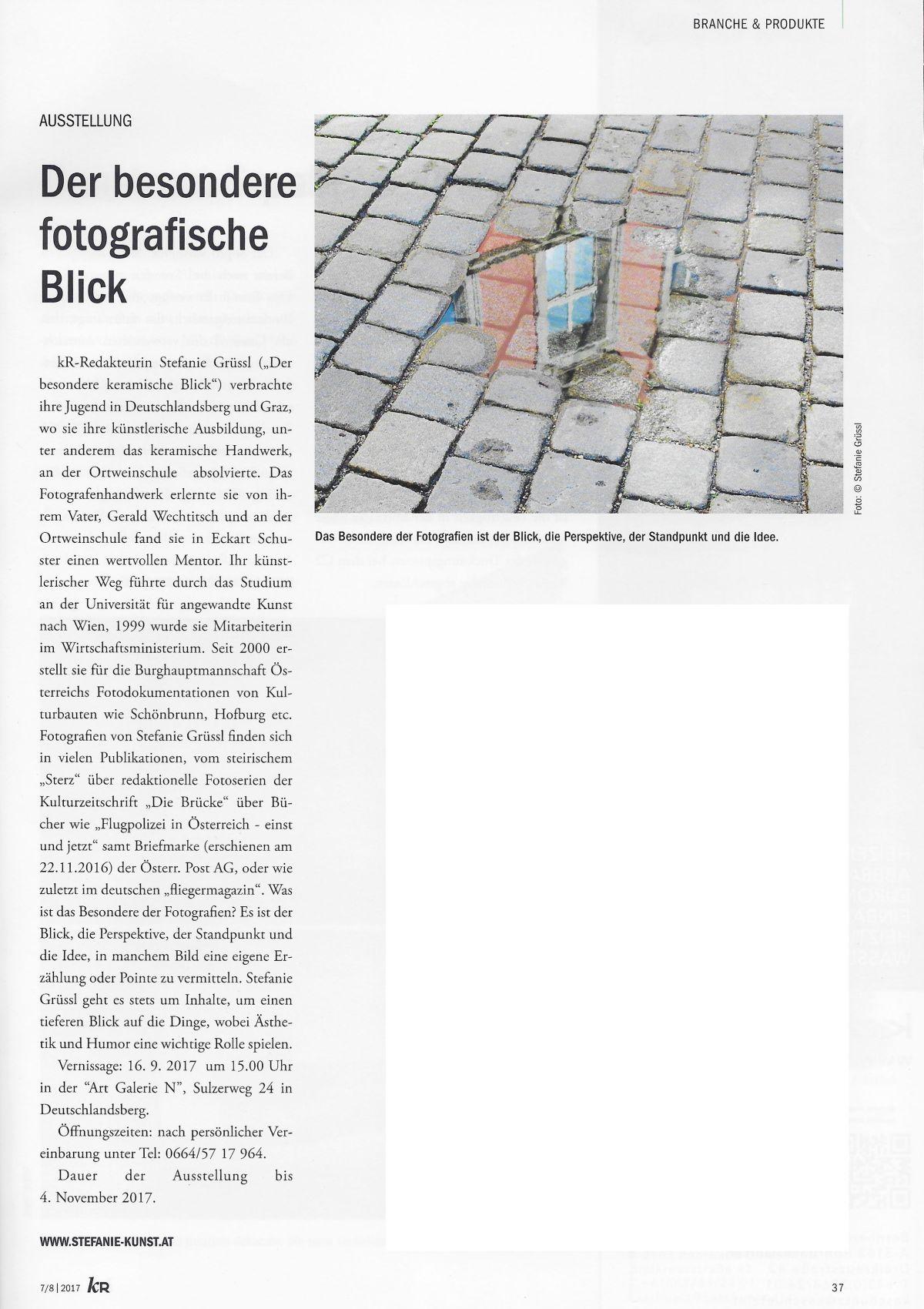 """Ausstellung - Ankündigung in der """"K&R"""" - Keramischen Rundschau"""