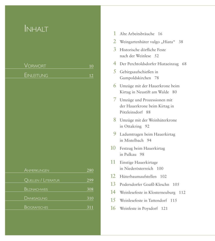"""Inhaltsverzeichnis """"Weinbräuche in Österreich"""""""