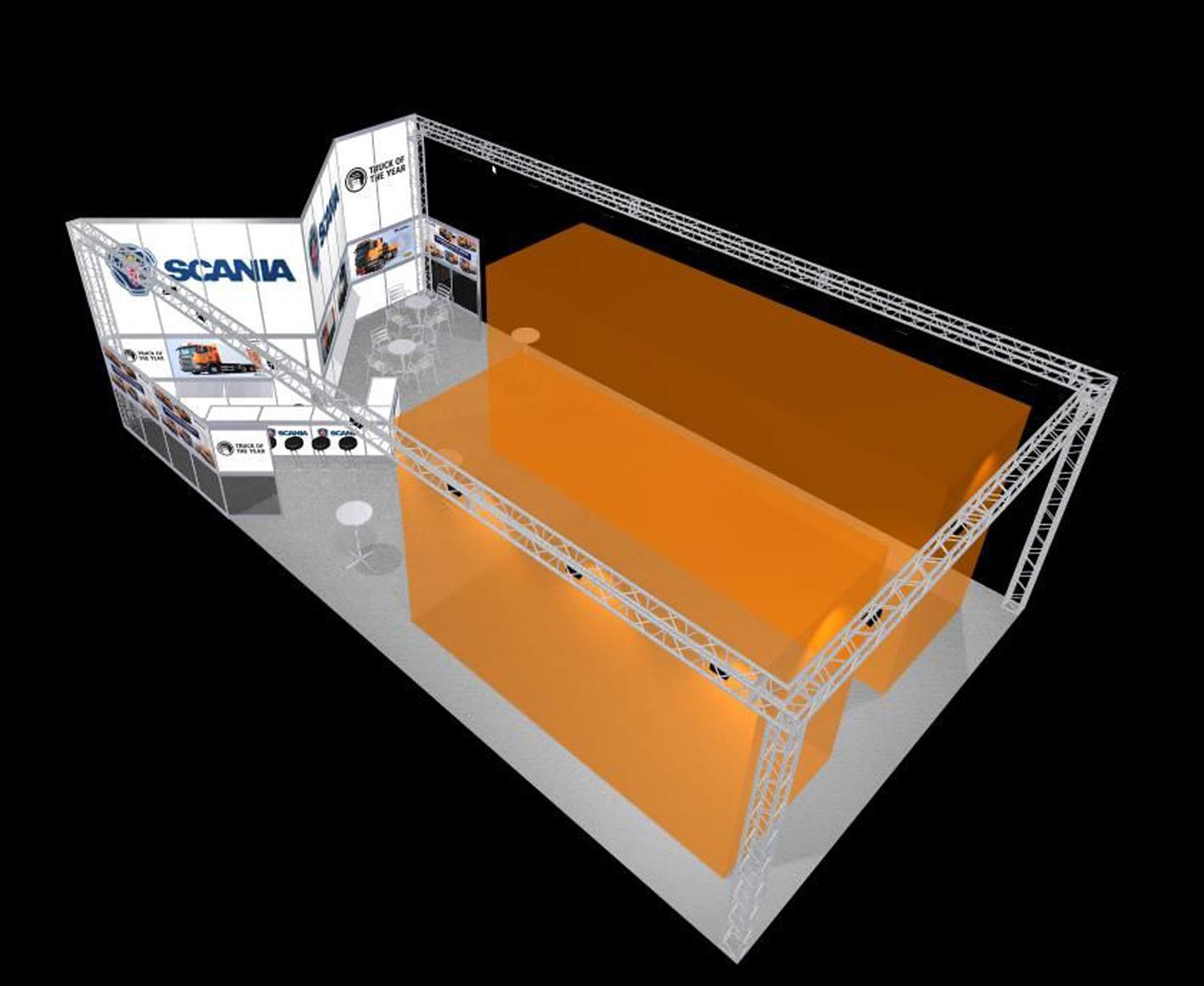 04 Kopfstand mit großer Lagerkoje, Traversen und Platz für LKW, sehr gute Ausleuchtung des gesamten Standes