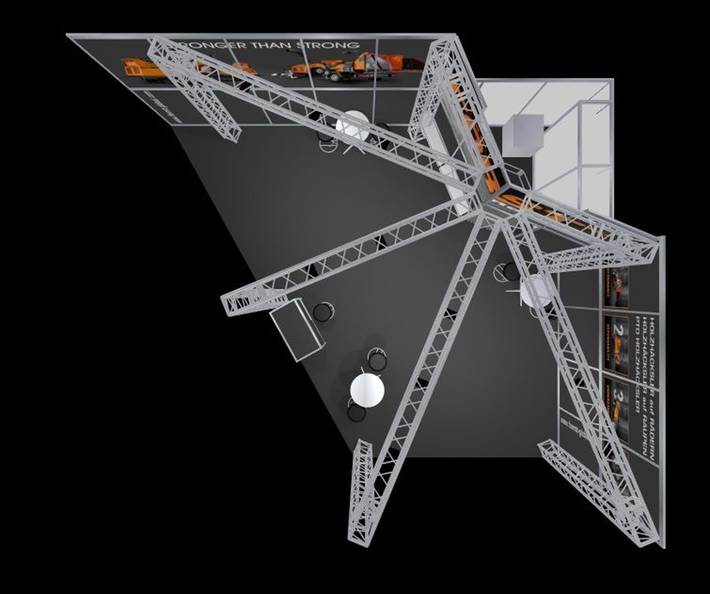 Produktpräsentation, eigenwillige Grundfläche, optimal gelöst, perfekte Beleuchtungsmöglichkeiten für Maschinen