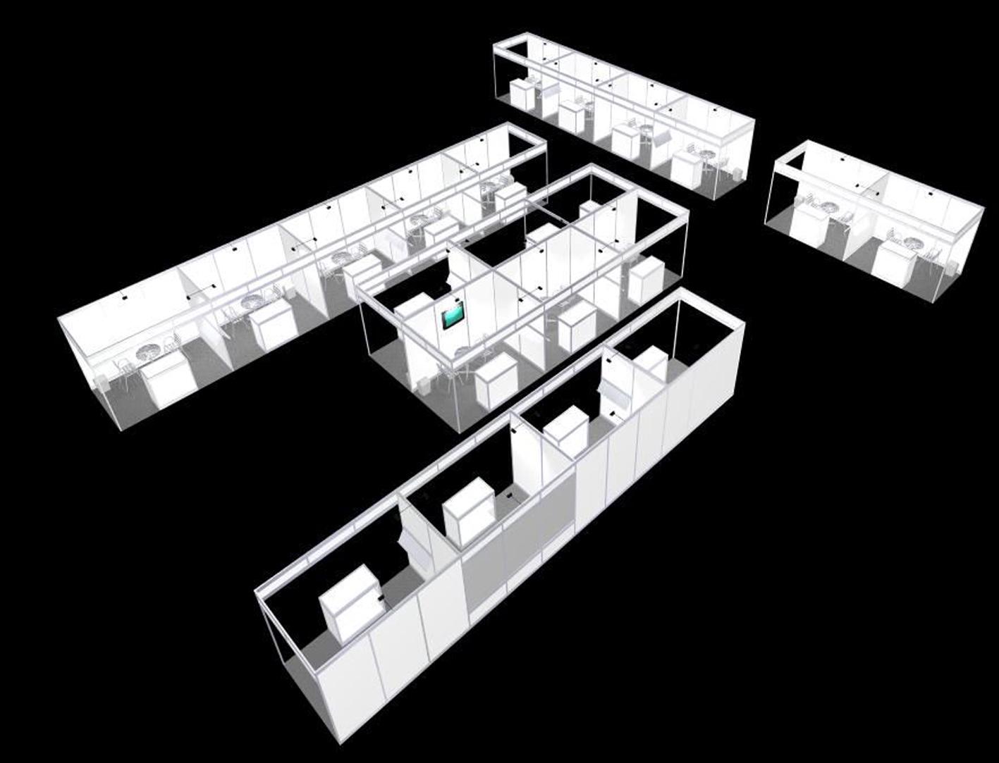 15 Kongressausstattung mit kleinen Einzelkojen für viele Mitaussteller, beliebig erweiterbar, an Raumformen anpassbar