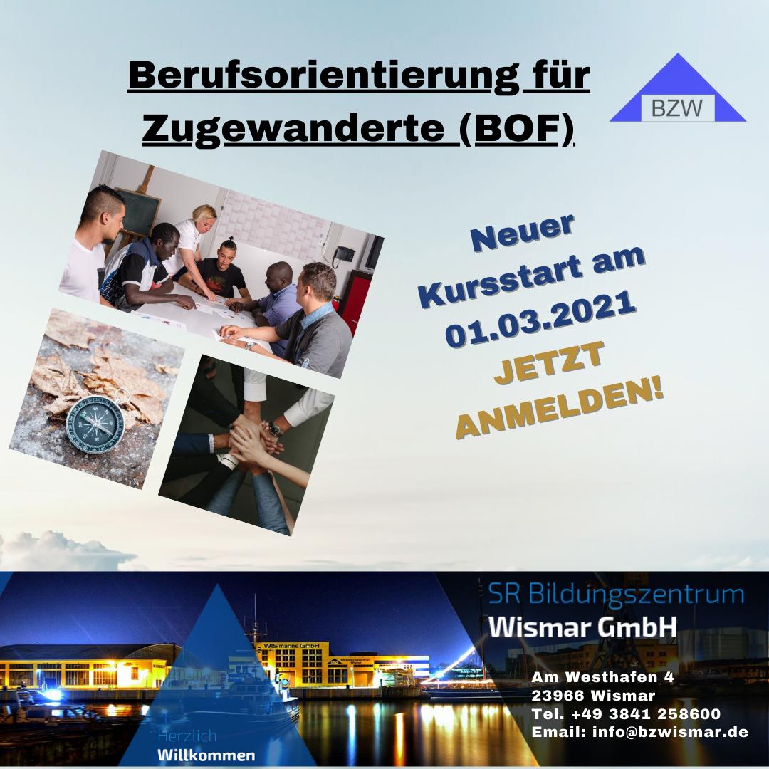 """Nächster Kursstart """"Berufsorientierung für Zugewanderte (BOF)"""" ab 01.03.2021!"""