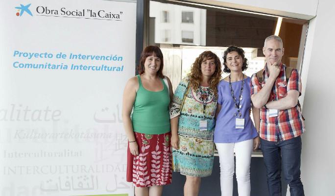 Equipo del Proyecto ICI (Intervención Comunitaria Intercultural) en el Polígono de Toledo; durante su formación en el Caixa Forum de Zaragoza
