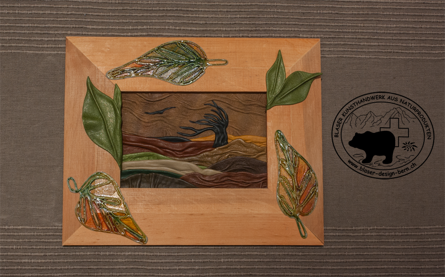 Design Wanddekoration - Lederbild goldener Herbst