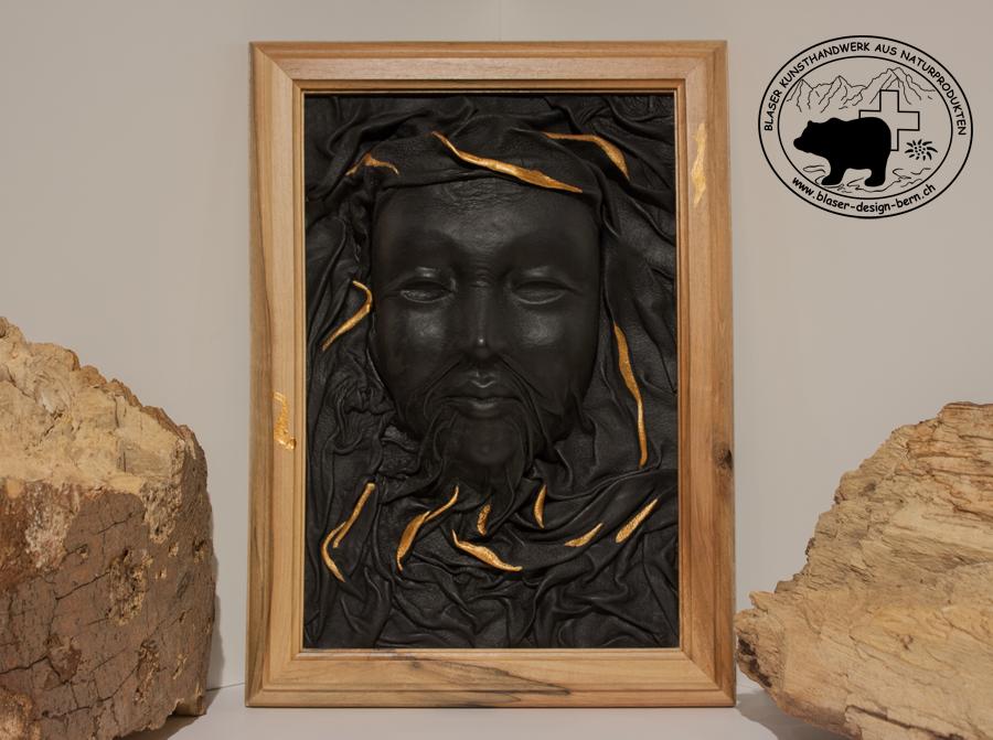 Vergoldetes Lederdesign | moderne Lederbilder mit Gold | Räumliche Bilder | 3D | Plastisch| einmalige Kunst aus der Natur | Lederkunsthandwerk aus echtem Leder | blaser-design-bern