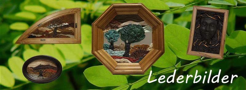 Einzigartige Lederbilder | Lederbild | Plastisch gestaltete Bilder 3D| nicht bemalt | Landschaften mit Bäumen | Schneeberge Laubbäume | www.blaser-design-bern.ch