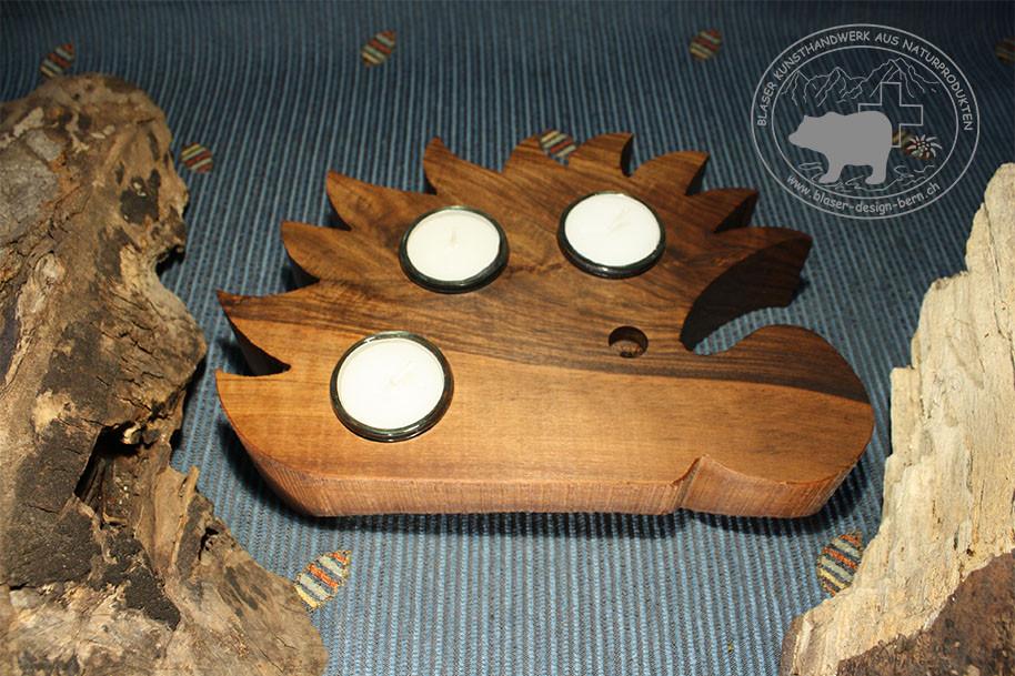 Igeldesign | Holzigel | Igel aus Holz | Holzdekoration | Holzhandwerk aus Bern - Schweiz | Holzdekoration | Feuerfester Glas Einsatz | blaser-design-bern
