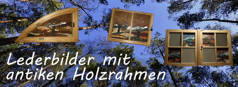 Antike Holzrahmen | Lederbilder | Lederkunsthandwerk | Spiegel | Viere Jahreszeiten | Kunsthandwerk aus Bern | Blaser Design