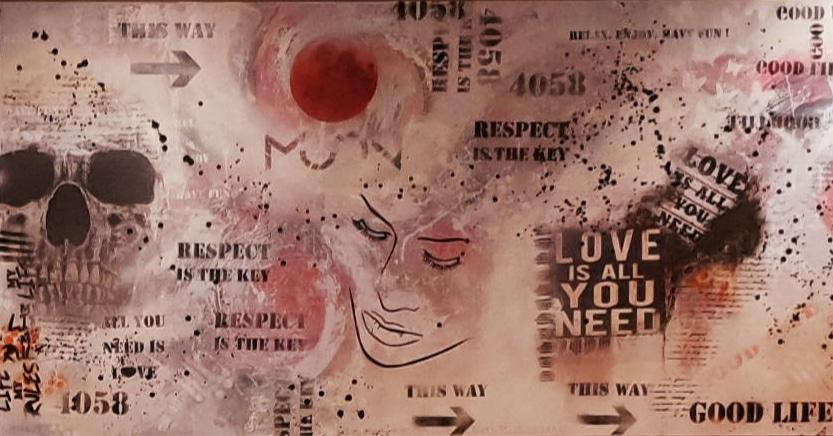 Auftragsarbeit für MOON_BASEL Leinwand 300x140cm Collage, Acryl, Mischtechnik